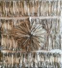 Pièce-abstraite-en-cellulose-sculptée-et-encre-de-Chine-75X82-cm