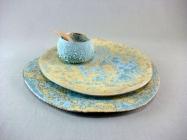 assiette et bol caillou bleu ocre
